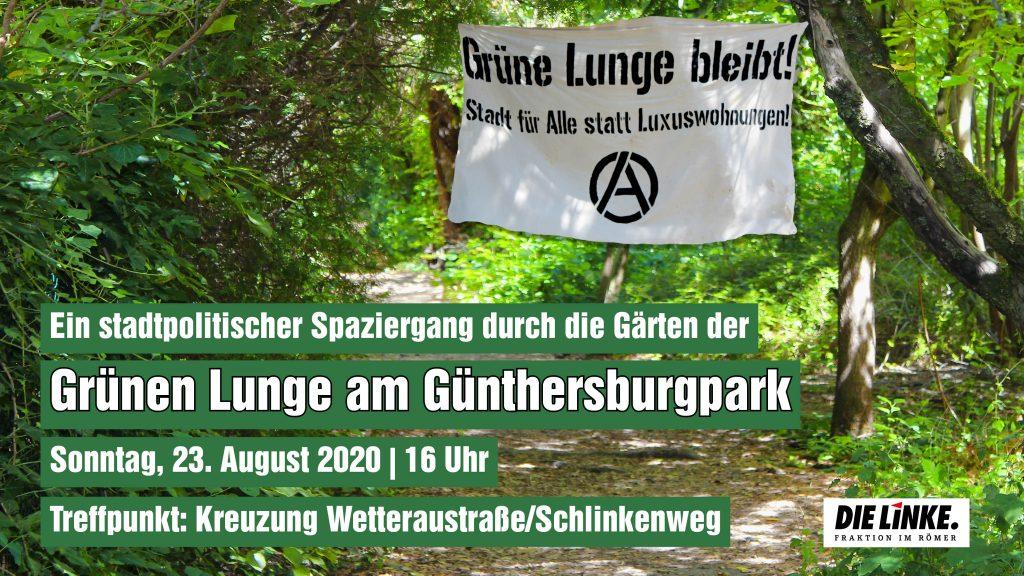 Stadtpolitischer Spaziergang durch die Grüne Lunge am Günthersburgpark @ Treffpunkt: Kreuzug Wetteraustraße/Schlinkenweg